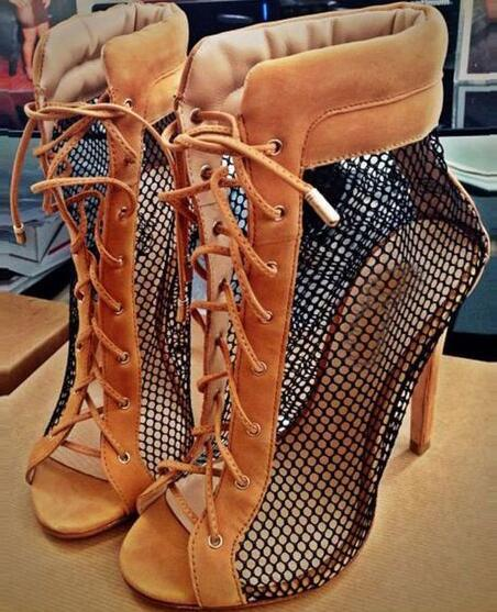 Hot selling sexy grid patchwork ankle boots open toe lace-up sandal boots summer high heel boots for woman gladiator boots
