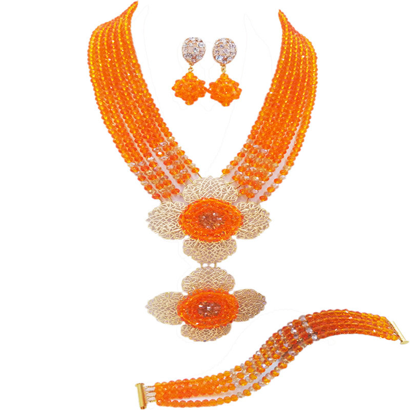 Fashion Orange Gold Nigerian Necklace African Wedding Beads Jewelry Set Crystal Bridal Jewelry Sets 6DHJZ12Fashion Orange Gold Nigerian Necklace African Wedding Beads Jewelry Set Crystal Bridal Jewelry Sets 6DHJZ12