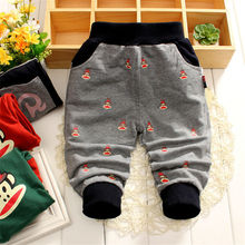 Spring and Autumn Boys kids monkey trousers Children straight denim Knitting pants baby cotton Pants jeans 0-4Y