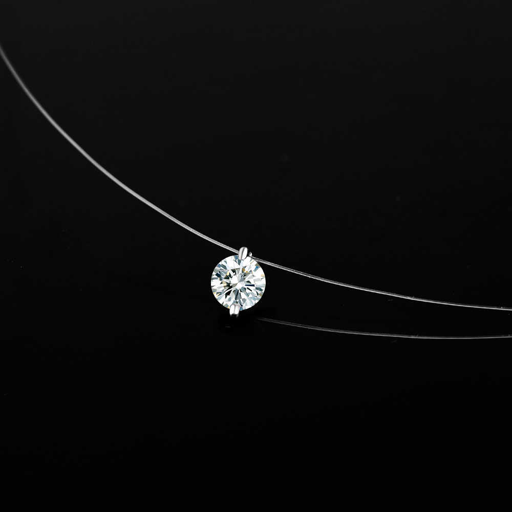 Fashion Transparent Fishing Line Crystal Necklace Silver Invisible Chain Necklace Women Rhinestone Choker Necklace Collier Femme