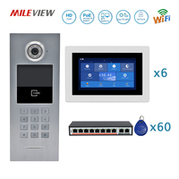 Бесплатная доставка 6 квартир POE 720 P IP Wi Fi 7 Сенсорный экран записывать видео домофон код клавиатуры RFID открытый Камера