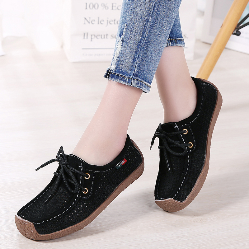 2019 Spring Women Sneakers Flats Shoes Breathable   Leather     Suede   Lace Up Ladies Cutout Boat Moccasin Oxford Shoes Woman 806