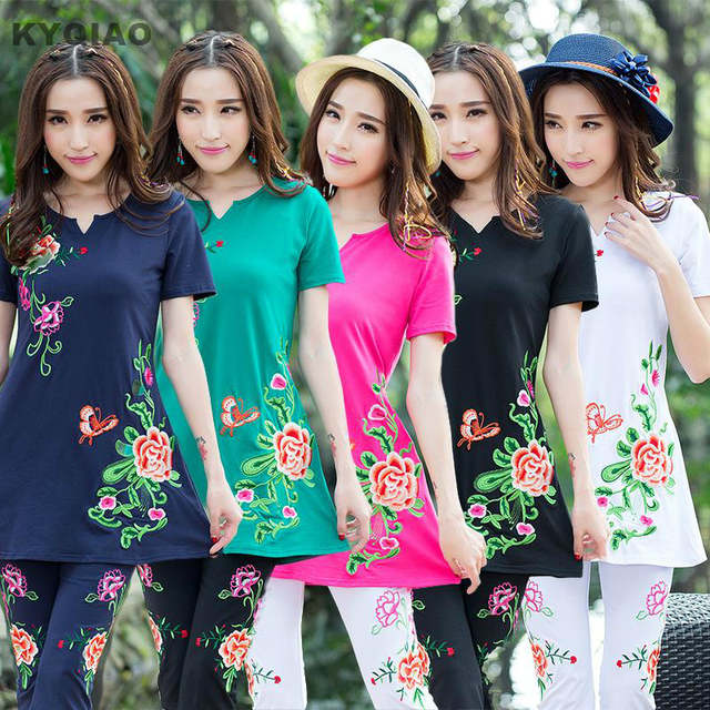 fe82ccb5e963 Online Shop KYQIAO Middle-aged women summer Mexico style long v neck ...