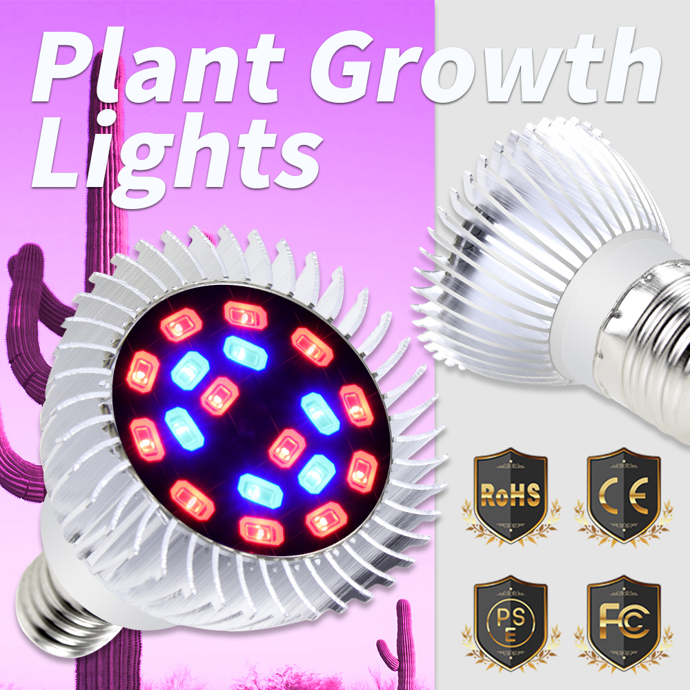 Full Spectrum E27 LED Grow Light Bulb E14 Aluminum AC 85-265V Red Blue UV IR Led Phyto Lamp 20W 5730 Plants Greenhouse Grow Tent
