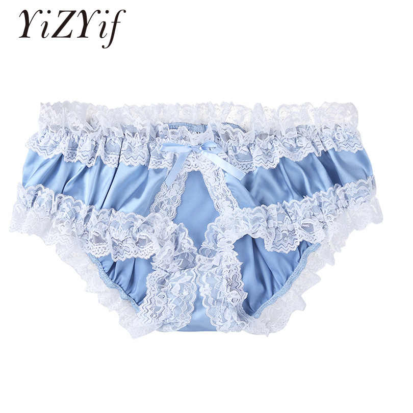 8d87dc5a1 YiZYiF Chastity Men panties open crotch Sexy Underwear Sissy Satin Fabric Ruffled  Lace Frilly Crotchless panties