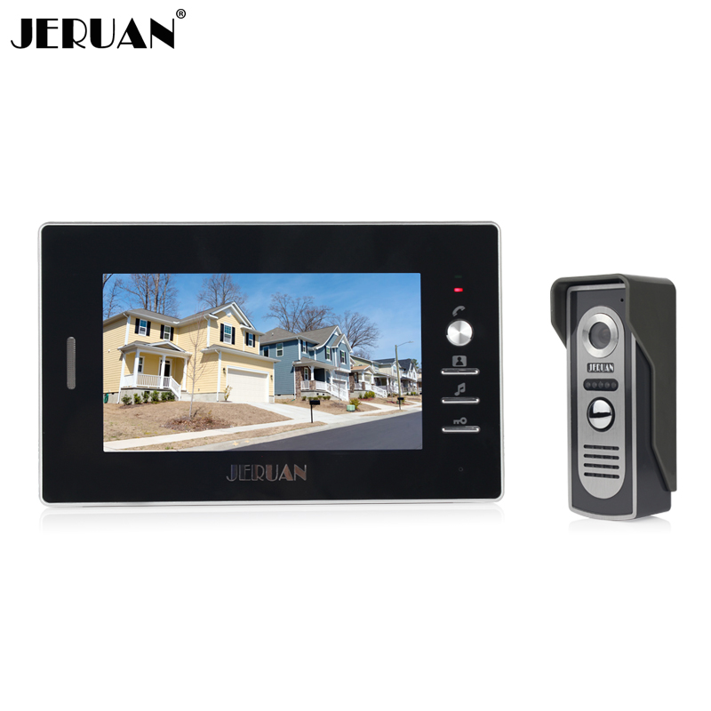 JERUAN Brand New Color Screen Video Door Phone Sperakerphone System 1 Monitor 700TVL COMS Camera In