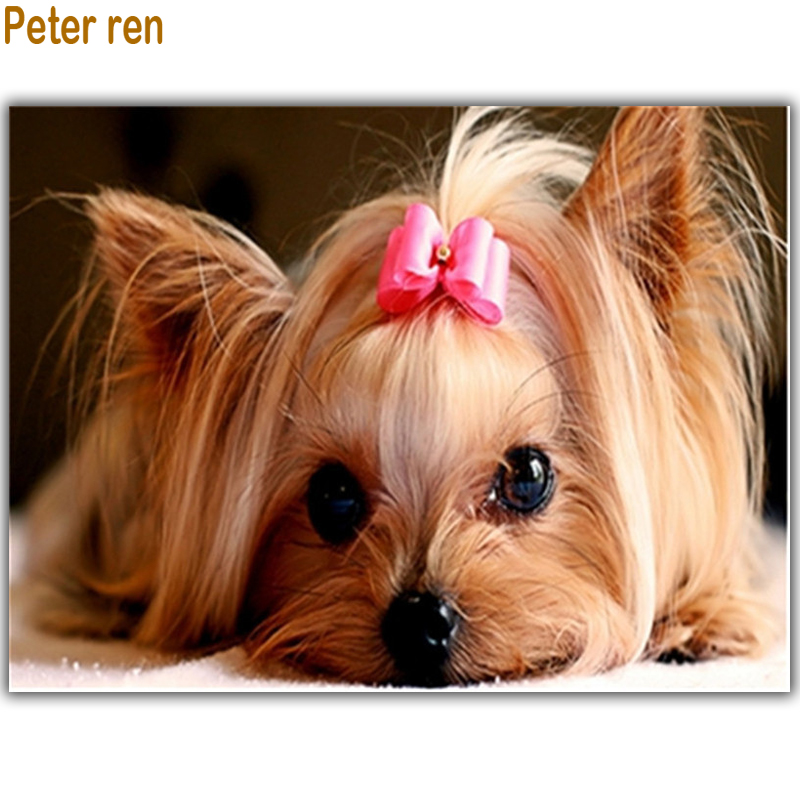 Peter ren DIY Diamond painting Cross stitch kits Pictures of rhinestone For dogs square mosaic full embroidery Yorkshire Terrier