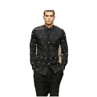 2015 Men S Quality Euro American Fashion Metal Stars Rivets Black Cool Party Long Sleeve Dress