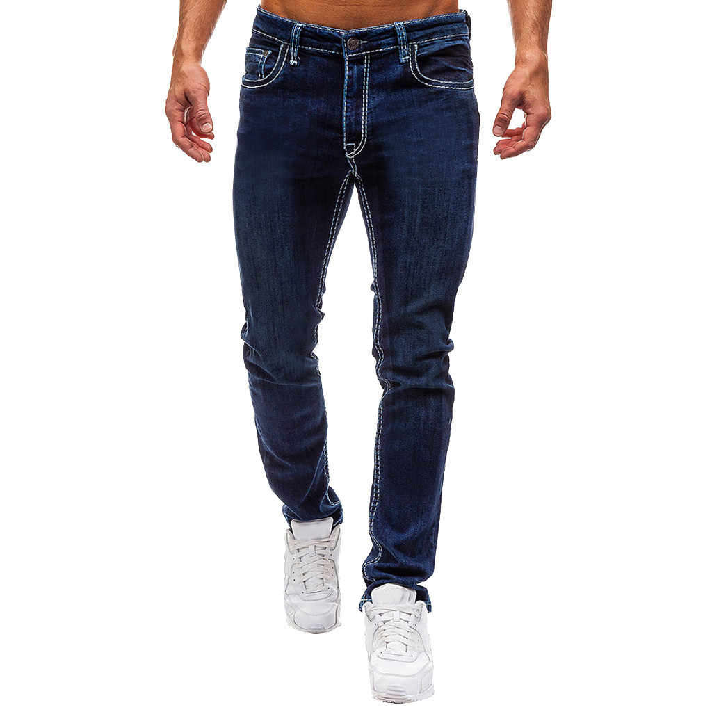Autumn Classic jeans men slim fit Casual Trousers Solid Pocket Male Jeans Destroyed Denim Full-Length Pants 7#3a1