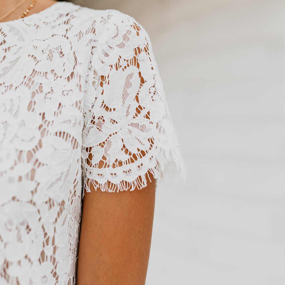2018 yeni moda sonbahar kış beyaz dantel kadın kılıf elbise tatlı dantel çiçek kısa kollu o-boyun sevimli mini elbiseler