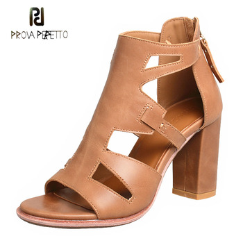 Prova Perfetto solid color concise high heels sandals women summer shoes open toe back zippers genuine leather sandals femininos