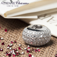 ATHENAIE Genuine 925 Sterling Silver Charms Bead Pave Clear CZ Fit All European Charm Bracelet Authentic