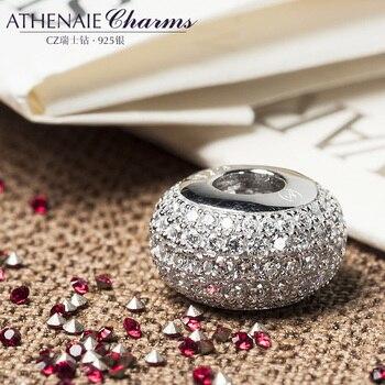 ATHENAIE genuino de Plata de Ley 925 abalorios Pave Clear CZ se adapta a todo encanto europeo pulsera auténtica joyería regalo