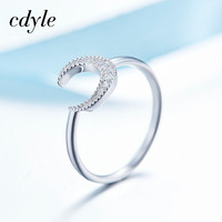 Cdyle Crystals From Swarovski Luxury Fashion Romantic Ring 925 Sterling Silver Women Jewelry Elegant Moon Shape