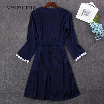 MECHCITIZ 2020 Women sexy lace silk robe & gown set sleep dress+bathrobe two piece 5 color robe bridesmaid wedding sleepwear