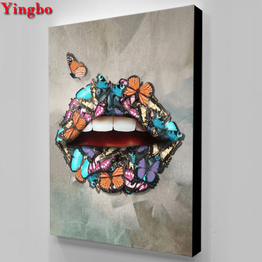 Full round 5d diy diamond painting Sexy lips butterfly Cross Stitch diamond embroidery sales mosaic picture of Rhinestones icon 副本