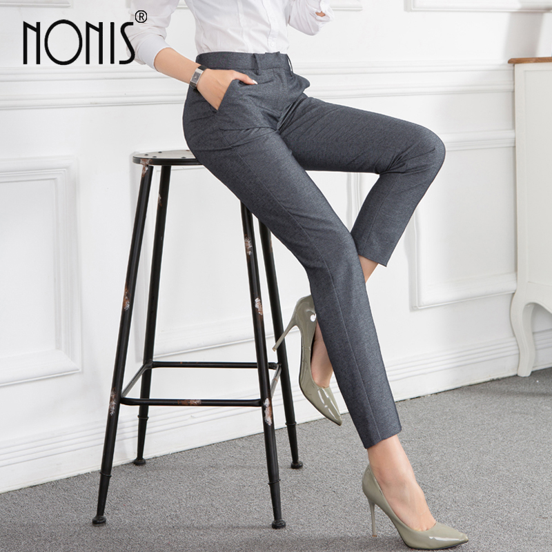 Nonis Black Gray Women business Formal Pants Office Ladies Work Wear Mid waist straight trousers Plus Size Femme Pantalon