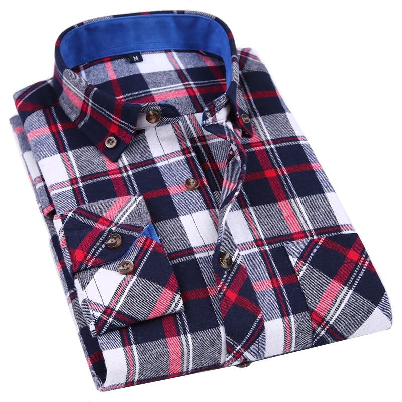 Casual Men Long Sleeve Flannel Plaid Shirt 100% Cotton Slim Style Collar Design Soft Comfortable Men Social Shirt Clothing