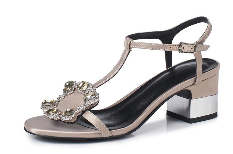 Carole Levy Summer Sandals in Bordered Crystal Embellished Shoes Woman with Square Heel PU Leather High Heels For LadiesCarole Levy Summer Sandals in Bordered Crystal Embellished Shoes Woman with Square Heel PU Leather High Heels For Ladies