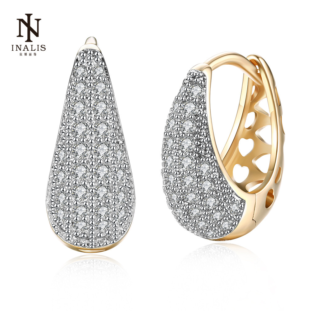 INALIS Elegance Inlaid Zircon Stud Earrings Water Drops Shape Champagne Gold Earrings For Women Female Jewelry золотые серьги по уху