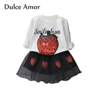 Dulce Amor Girls Clothes Set Autumn Long Sleeve Strawberry Sequin Pullover T Shirt Lace Mini Skirt