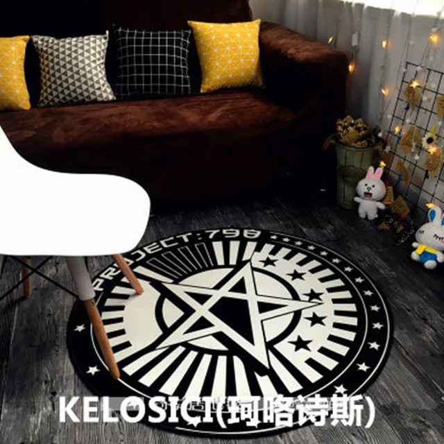 Nordic Style Black And White Cloakroom Round Carpets For Living Room Bedroom Hanging Basket Computer Chair Floor Mat Rug Carpet