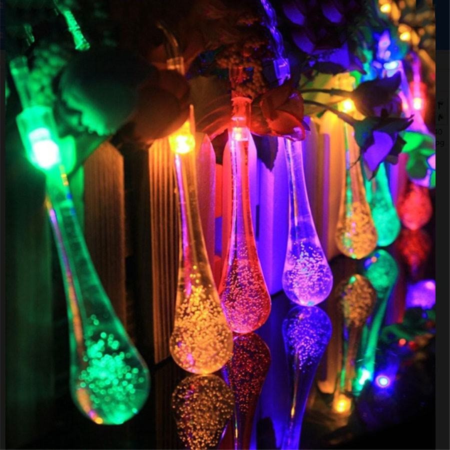 5M LED Holiday Lights 20PCS Waterdrop Colorful Lamp For Party Garland Home Decoration LED String Warm White AC110-220V Plug