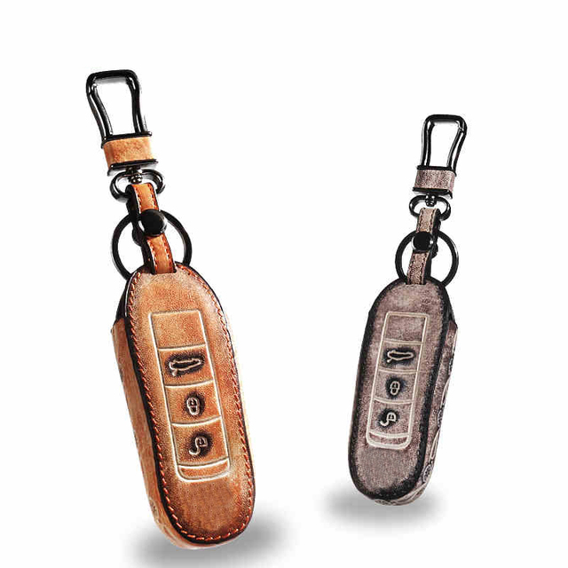Genuine Leather Car Keychain Key Fob Case Cover wallet for Porsche cayenne macan panamera 911Boxster Cayman Key Rings Holder bag