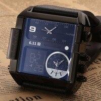 2018 nowy triple wyświetlania czasu Skórzany pasek wielofunkcyjny nawigacji analogowy cyfrowy Wodoodporny Zegarek biznes Prosta linijka
