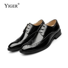 YIGER NEW Man Dress shoes Genuine Leather Bullock wedding Shoes British Business male Lace-Up Fashion Black/Brown 05