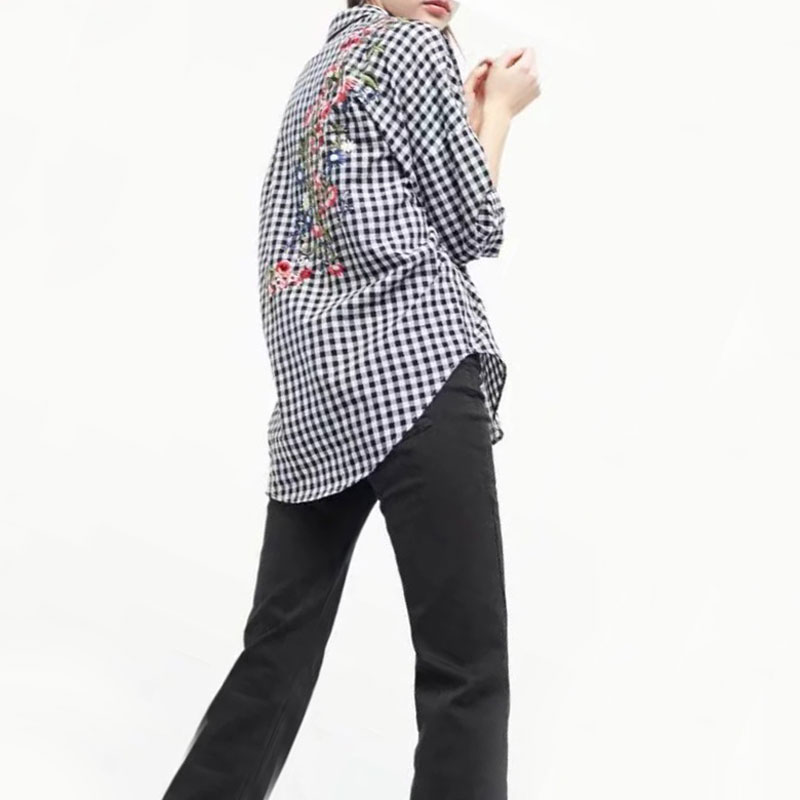 2017 New Fashion Women Blouse Shirt Loose Plus Size Floral Embroidered Black and White Plaid Shirts