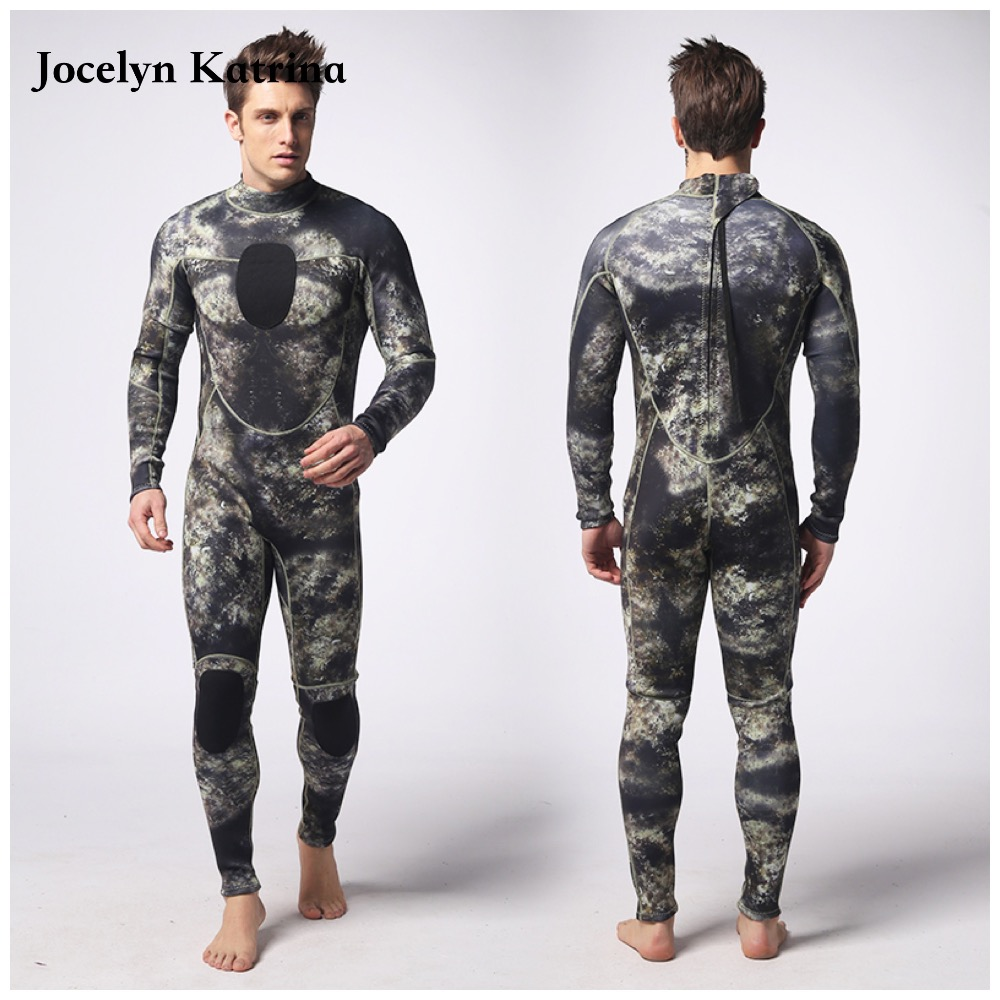 цена на One-Piece Men's 3mm Neoprene Winter Wetsuit Camouflage Swimwear Rash Guard Long Sleeve Diving Suit Green Grey XXL Free Shipping
