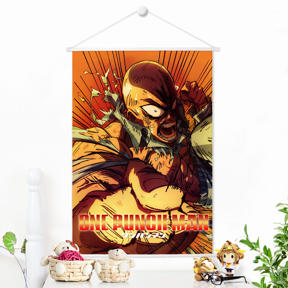 Japonský Anime ONE PUNCH MAN Saitama Painting Microfiber Scroll Animation Wall Picture Poster For Home Decoration 100x70cm