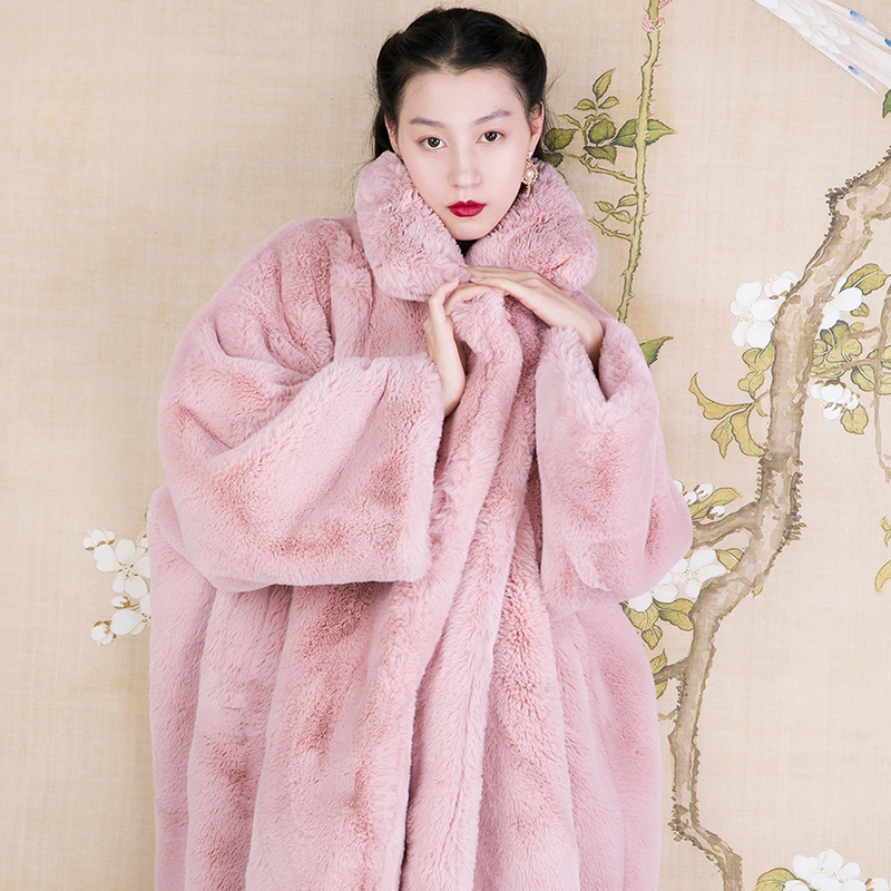 2018 new faux rabbit fur coat long parka winter jacket women soft thick warm oversize loose Casual pink streetwear wide-waisted