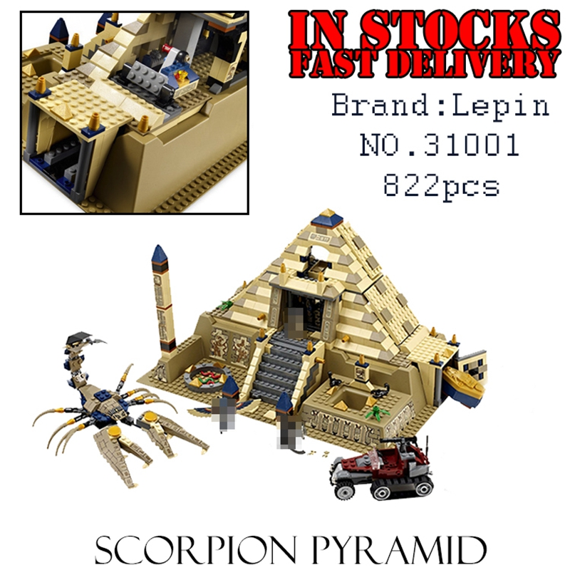 Lepin 31001 Egypt Pharaoh Series The Scorpion Pyramid 827Pcs Educational Building Blocks Bricks Toys for children Gifts 7327 the red pyramid
