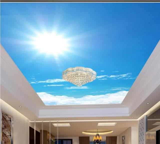Customize 3d Ceiling Stickers Sunlight Sky 3d Stereoscopic