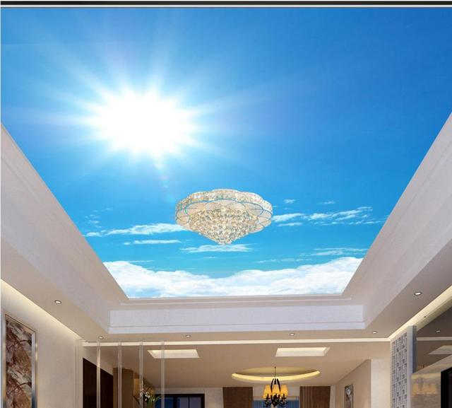 3d Sky Ceiling Wallpaper Customize 3d Ceiling Stickers Sunlight Sky 3d Stereoscopic