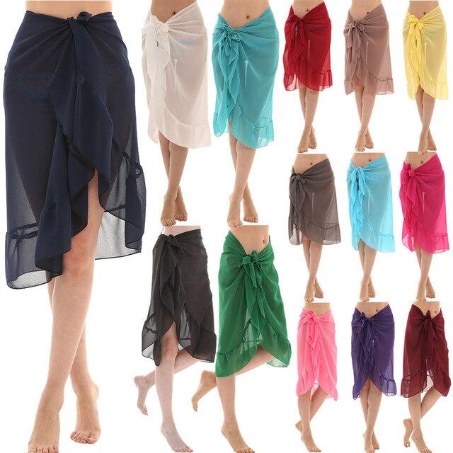 Women Chiffon Sunscreen Shawl Beach Bikini Swimwear Wrap Coverup Skirt Swimsuit Skirt Women Cute Sweet Girls Dance Skirt Юбка