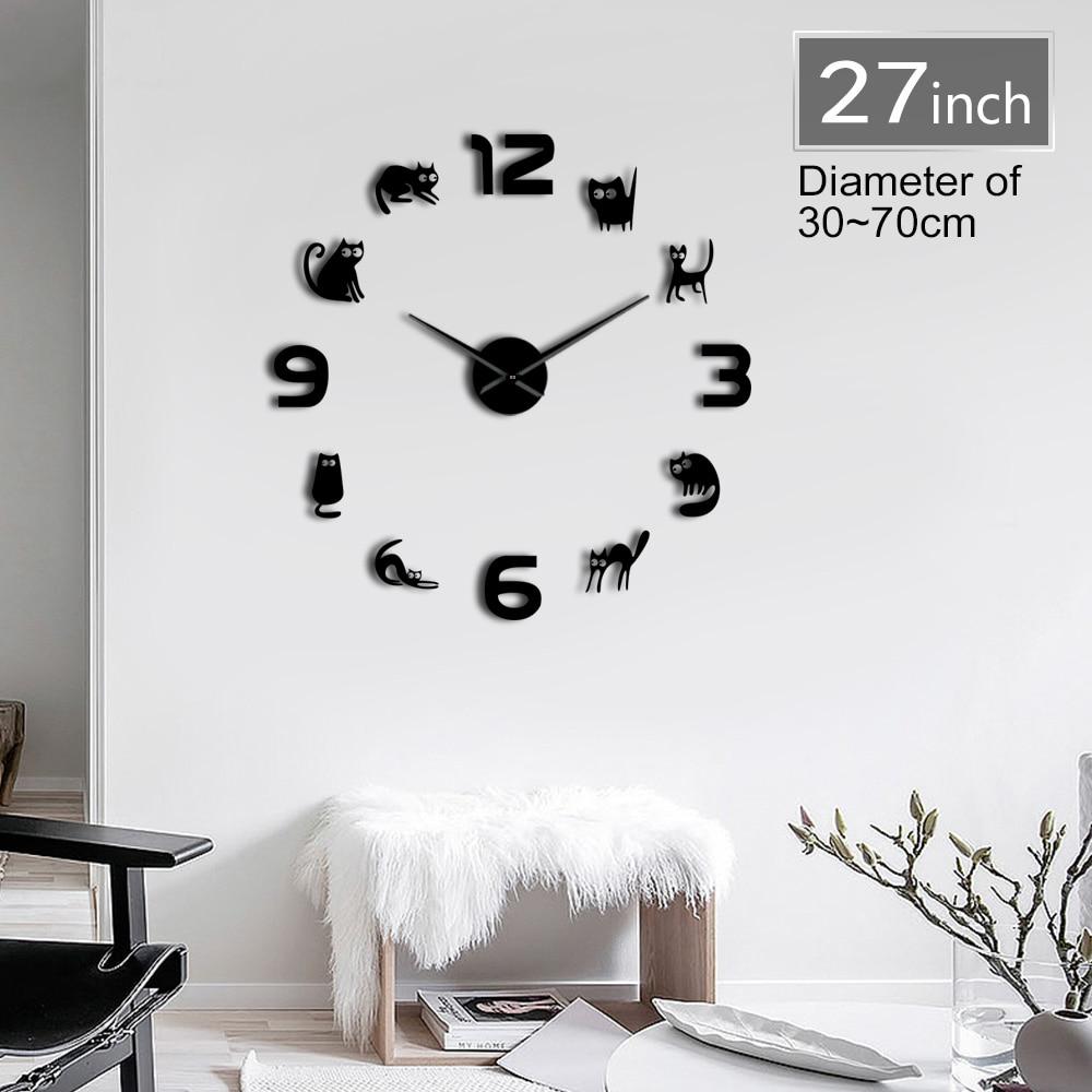 Kittens Frameless 3D DIY Wall Clock Mute Quartz Acrylic Mirror Effect Sticker Clock Watch Fashion Home Decoration Cat Lover Gift