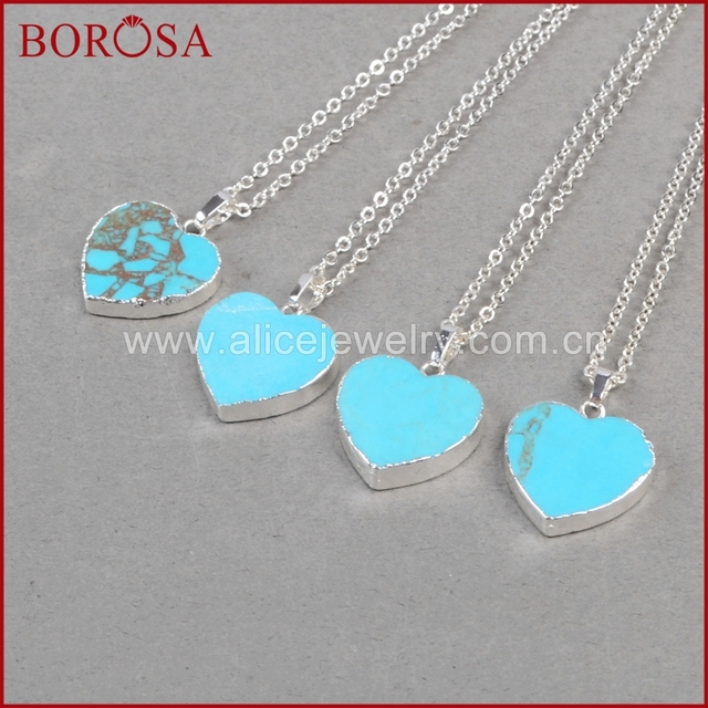 Borosa fashion druzy pendants blue howlite blue stone stone heart borosa fashion druzy pendants blue howlite blue stone stone heart shape pendants silver color necklace for aloadofball Image collections