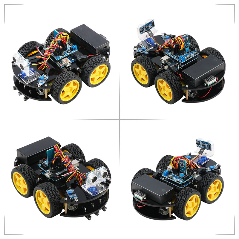 Keywish 4WD Robot Cars for Arduino Starter Kit Smart Car APP RC Robotics Learning Kit Educational STEM Toy Kid Lesson+Video+Code