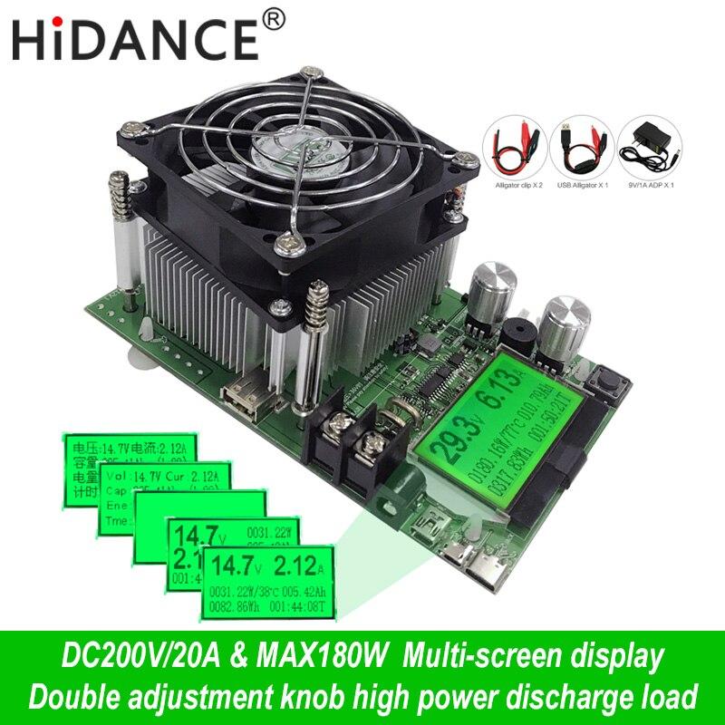 180 w Digital indicador tester capacidade da fonte de alimentação dc 200 v resistor de carga eletrônica 18650 descarregador de bateria usb teste de verificação