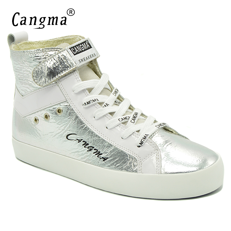 CANGMA Original Women Boots Italy Lace Up Silver Shoes Patent Genuine Leather Casual Shoes Sneakers For Girls Ankle Boots Female cangma superstar italian luxury brand shoes for woman genuine leather women casual orange silver classic shoes schoenen vrouwen
