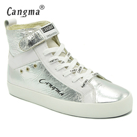 CANGMA Original Women Boots Italy Lace Up Silver Shoes Patent Genuine  Leather Casual Shoes Sneakers For 70d7e74ae0b6