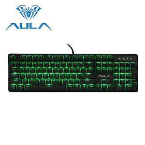 Image 1 - AULA Wired Mechanical Keyboard 104 Keys Anti ghosting Red Switch gaming keyboard Green Backlight Game Keyboard #AK2053