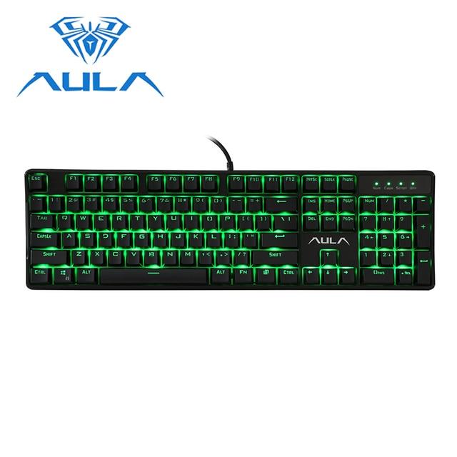 AULA Wired Mechanical Keyboard 104 Keys Anti ghosting Red Switch gaming keyboard Green Backlight Game Keyboard #AK2053