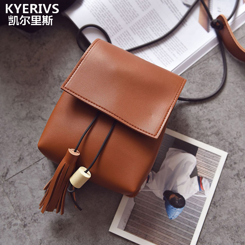 2017 Small Female Bag Women Crossbody Bags Fashion Trend Tassel Woman Shoulder Bag Pu Leather Tassel Phone Holder swdf 2017 new crossbody bag woman pu leather retro women shoulder bags casual fashion female small square bags mobile phone bag