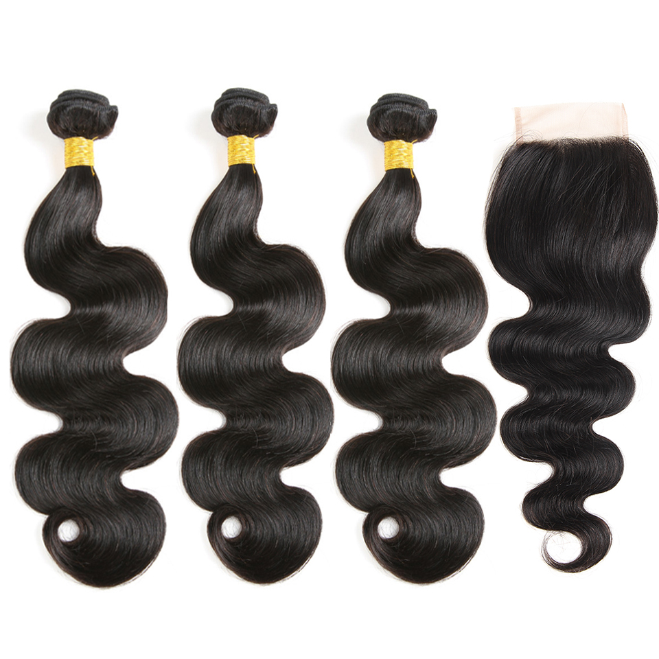 SATAI Hair Indian Body Wave 3 Bundles With Closure Natural Color Human Hair Bundles With Closure Non Remy Hair Extentions