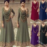 Fashion adult lace embroidered stitching dress female loose large size Saudi Arabian wind long sleeve dress female robe