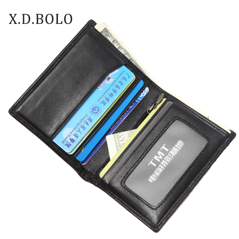 XDBOLO Slim Genuine Leather Wallet Men Fashion Design Bifold Short Man Wallet Zipper Male With Card Holder Mini Coin Purse